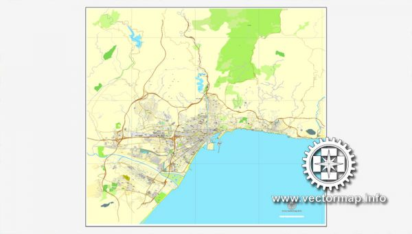 Map vector Malaga, Spain, printable vector street City Plan map, full editable, Adobe illustrator Map for design, print, arts, projects, presentations, for architects, designers and builders