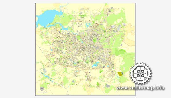 Minsk, Belarus, printable vector street City Plan map, full editable, Adobe illustrator, full vector, scalable, editable, text format street names