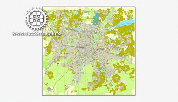 München, Deutschland, Straße druckbare Vektorkarte Stadtplan, voll editierbar, Adobe Illustrator, voll Vektor, skalierbare, editierbare, Textformat Straßennamen