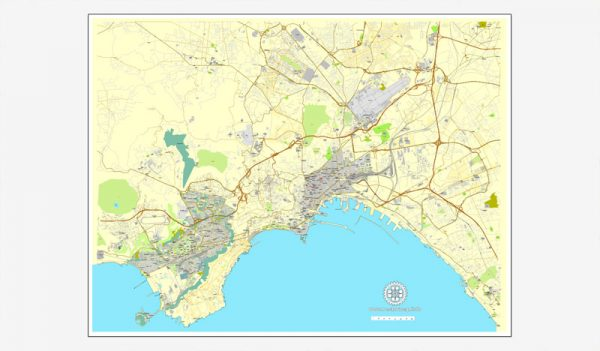 Naples / Napoli, Italy, printable vector street map City Plan, full editable, Adobe Illustrator, Royalty free, full vector, scalable, editable, text format street names