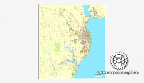 Одесса, Украина, векторная карта в формате Adobe Illustrator, полностью редактируемая, имена улиц и объектов в текстовом формате, 14,2 мегабайт в зип архиве Карта предназначена для дизайна, презентаций, полиграфии, рекламы, для строителей, архитекторов и проектировщиков.