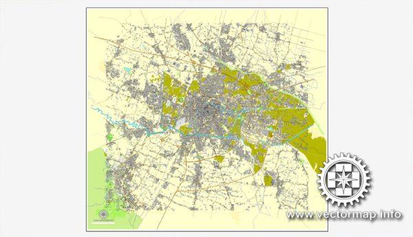 Padova / Padua, Italy, printable vector street map City Plan, full editable, Adobe Illustrator, Royalty free