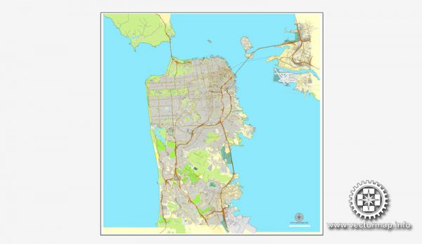 Map vector San Francisco, version 2, map, California, US, printable, vector street, City Plan map, full editable, Adobe Illustrator, full vector Map for design, print, arts, projects, presentations, for architects, designers and builders