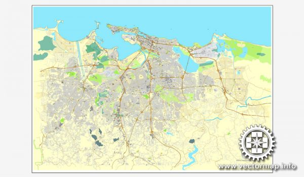 Map vector San Juan, Puerto Rico, US, printable vector street City Plan map, full editable, Adobe Illustrator, full vector Map for design, print, arts, projects, presentations, for architects, designers and builders