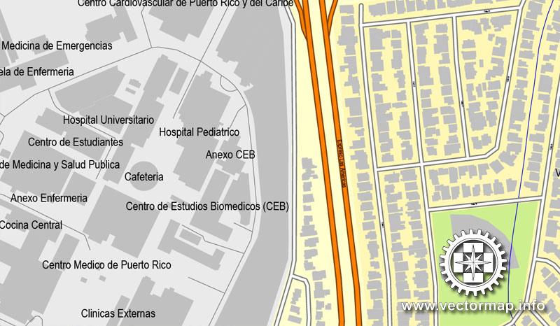 Vector map San Juan Puerto Rico