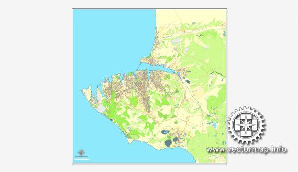 Map vector Sevastopol, Ukraine, printable vector street City Plan map, full editable, Adobe illustrator Map for design, print, arts, projects, presentations, for architects, designers and builders