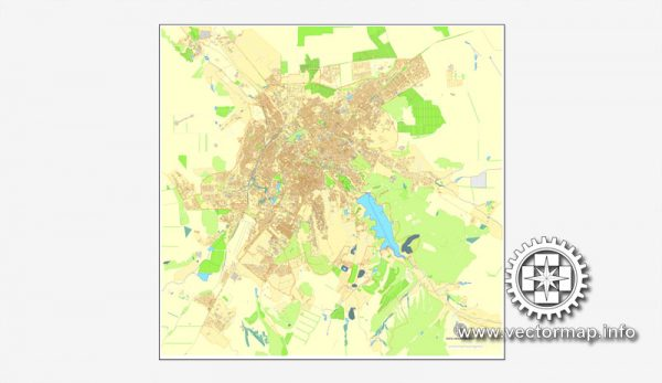 Map vector Simferopol, Ukraine, printable vector street City Plan map, full editable, Adobe illustrator Map for design, print, arts, projects, presentations, for architects, designers and builders
