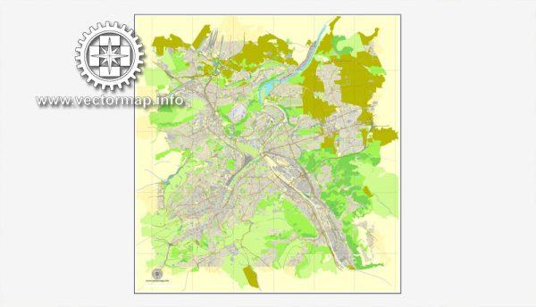 Stuttgart, Deutschland, Straße druckbare Vektorkarte Stadtplan, voll editierbar, Adobe Illustrator, voll Vektor, skalierbare, editierbare, Textformat Straßennamen