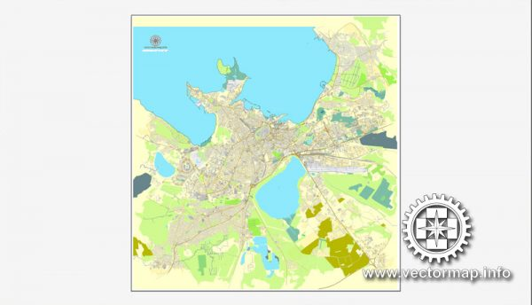 Tallinn, Estonia, printable vector street map, City Plan, full editable, Adobe Illustrator, Royalty free, full vector, scalable, editable, text format street names,