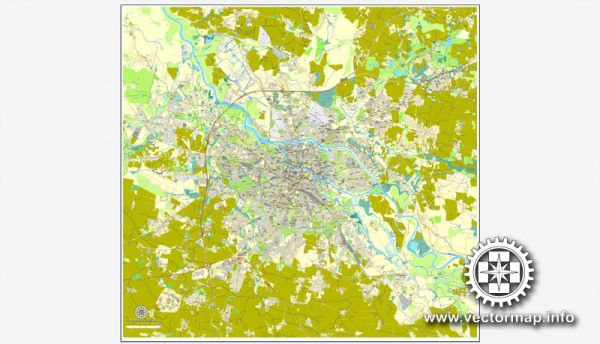 Wroclaw, Poland, printable vector street map, City Plan, full editable, Adobe Illustrator, Royalty free, full vector, scalable, editable, text format street names,