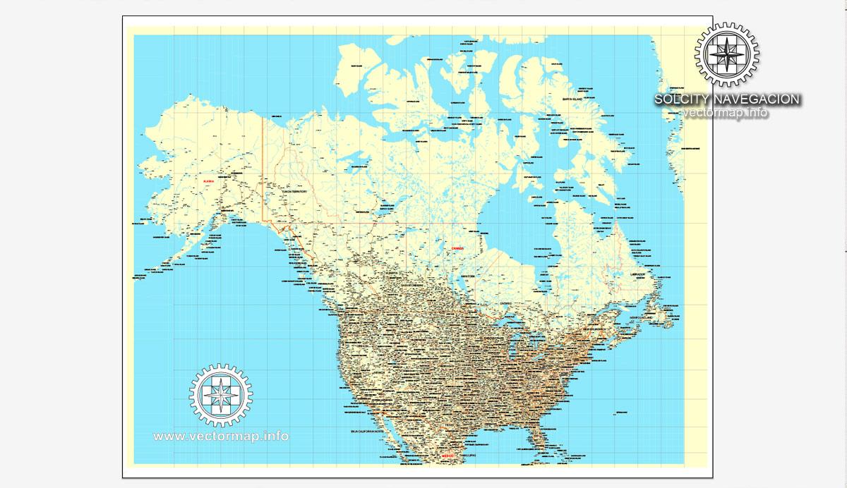 Street map US Canada all roads