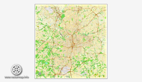 Vector map Atlanta, Georgia, US, vector map Adobe Illustrator editable City Plan, full vector, scalable, editable, text format street names