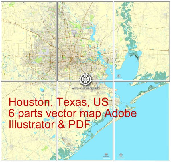 Houston, Texas, US printable vector street City Plan map 6 parts, full editable, Adobe Illustrator