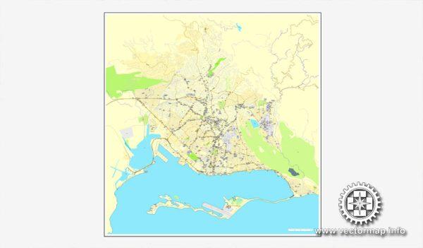 Kingston, Jamaica, printable vector street City Plan map, full editable, Adobe Illustrator, full vector, scalable, editable