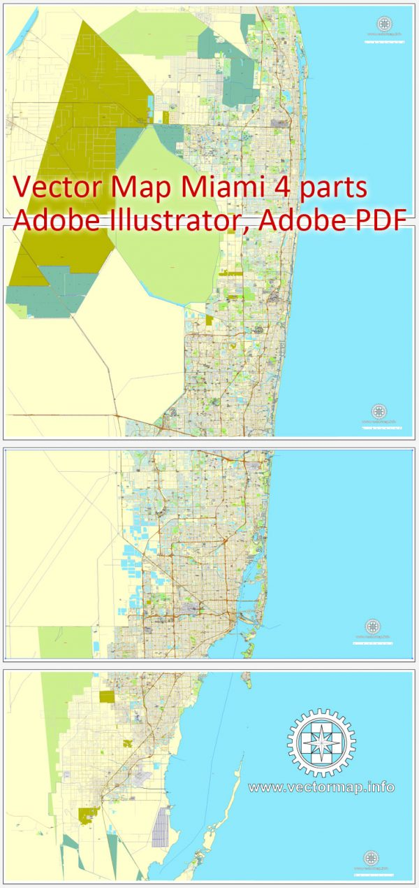 Vector map Miami, Florida, US printable vector street City Plan map 4 parts, full editable, Adobe Illustrator, full vector, scalable, editable, text format street names