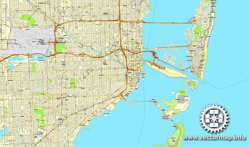 Street map Miami