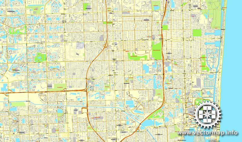 miami, florida, us printable vector street city plan map 4