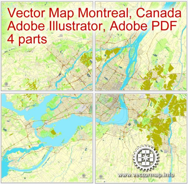 Vector map Montreal, Canada, printable vector street City Plan map, full editable, Adobe Illustrator 4 parts map, full vector, scalable, editable text format street names