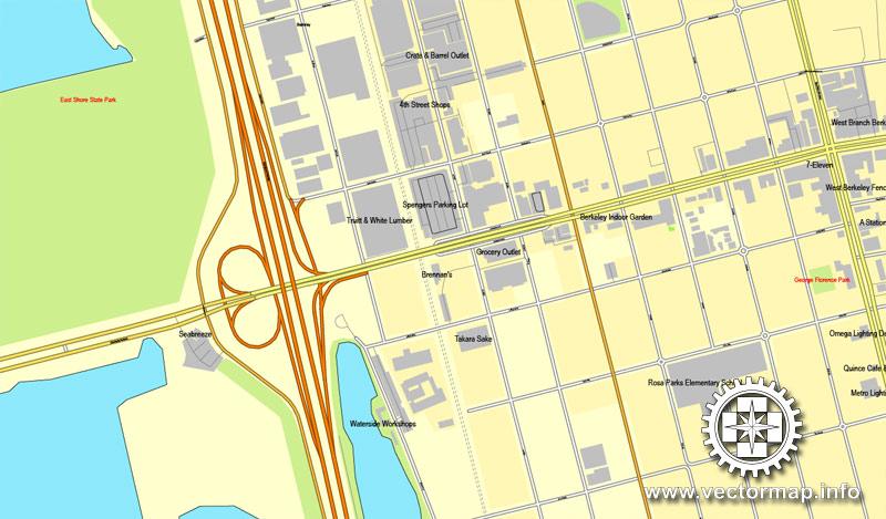Street map Oakland Berkeley California