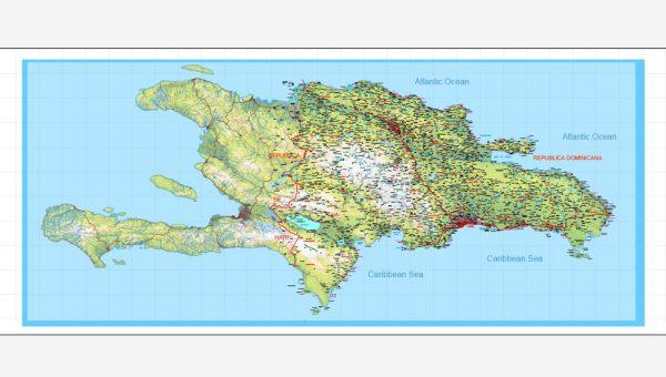 Dominican Republic Map y Haiti Map full printable level 10 relief vector Adobe Illustrator