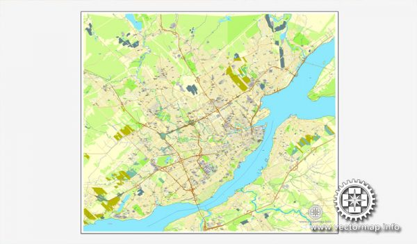 Vector map Quebec, Canada, printable vector street City Plan map, full editable, Adobe Illustrator, full vector, scalable, editable, text format street names, 7,3 mb ZIP