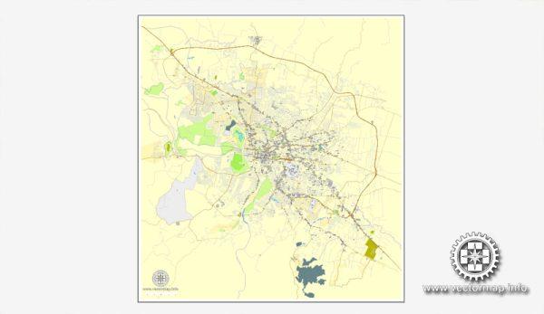 Santiago mapa: Imprimible calle de vectores mapa de Plan de la Ciudad Santiago, Rep. Dominicana, completos, Adobe Illustrator, vector completo, escalables y editables