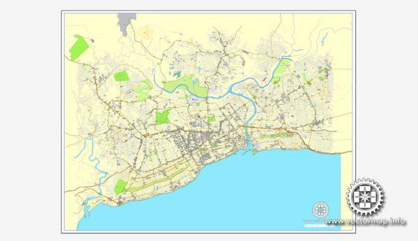 Imprimible calle de vectores mapa de Plan de la Ciudad Santo Domingo, Rep. Dominicana,, completos, Adobe Illustrator, vector completo, escalables y editables, nombres de calles de formato de texto editable