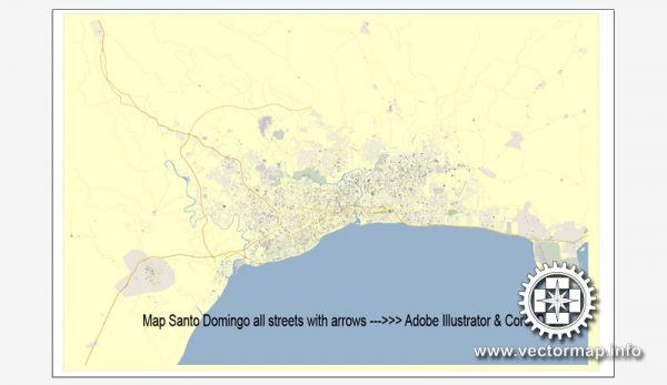 Santo Domingo, Rep. Doninicana map V.2 vector editable for design, Adobe Illustrator