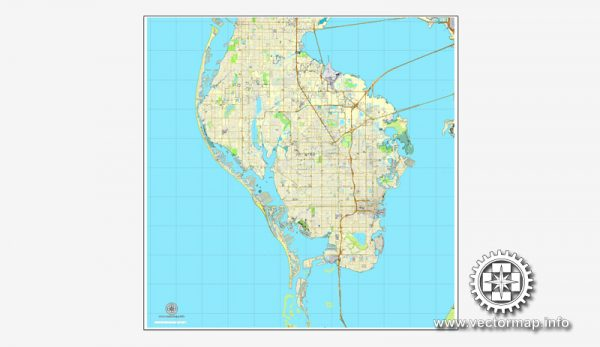 Vector map St.Petersburg, Florida, US printable vector street City Plan map V.2, full editable, Adobe Illustrator