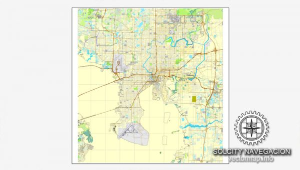 Tampa Map Editable Florida US printable City Plan V.2 Street Map Adobe Illustrator