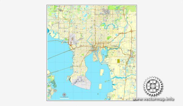 Tampa PDF Map Florida US printable vector City Plan V.7 full editable street map Adobe PDF