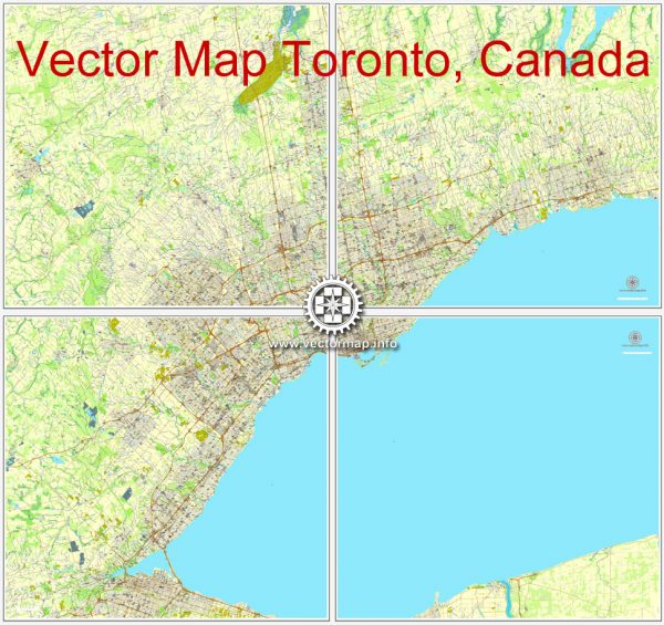 Vector map Toronto, Canada, printable vector street City Plan map 4 parts, full editable, Adobe Illustrator