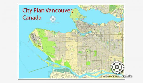 Vector map Vancouver V.2: Printable City Plan Map of Vancouver, Canada, Adobe Illustrator, full vector, scalable, editable, separated text layer street names, 9,7 mb ZIP