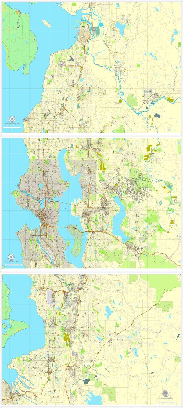 Seattle Map Vector Washington US printable City Plan 3 parts V2 full editable Street Map Adobe Illustrator