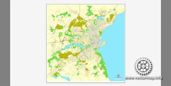 Vector map Aarhus, Denmark, printable vector street City Plan map, full editable, Adobe Illustrator, full vector, scalable, editable, text format street names, 6,3 mb ZIP