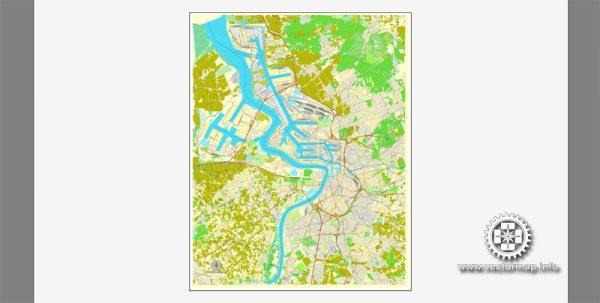 Antwerpen, Belgium, printable vector street City Plan map V.2, full editable, Adobe Illustrator, full vector, scalable, editable, text format street names, 14,6 mb ZIP