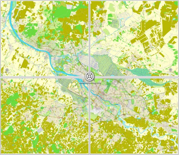 Vector map Bremen, Germany, printable vector street City Plan map in 4 parts, full editable, Adobe Illustrator