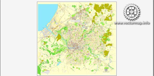 Vector map Bristol, England, printable vector street City Plan map, full editable, Adobe Illustrator, full vector, scalable, editable, text format street names, 11,5 mb ZIP