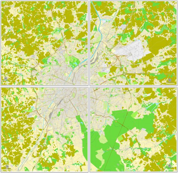 Vector map Brussels, Belgium, printable vector street City Plan map V.2 in 4 parts, full editable, Adobe Illustrator, full vector, scalable, editable, text format street names, 34,6 mb ZIP