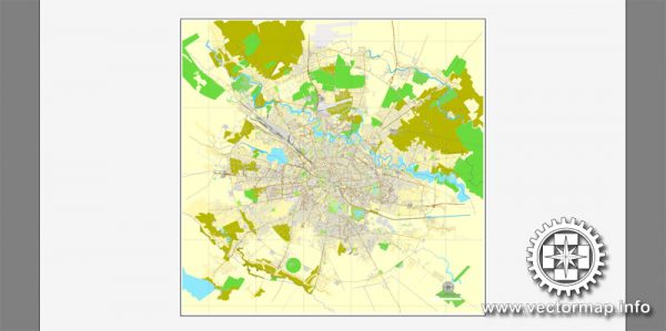 Vector map Bucharest, Romania, printable vector street City Plan map, full editable, Adobe Illustrator, full vector, scalable, editable, text format street names, 26,8 mb ZIP
