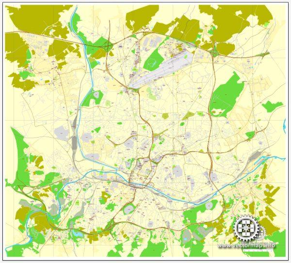 Vector Map Charleroi, Belgium, printable vector City Plan map, full editable, Adobe Illustrator, full vector, scalable, editable, text format street names, 3,3 mb ZIP