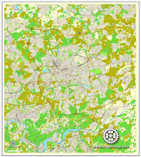 Vector Map Dortmund, Germany, printable vector map, full editable, Adobe Illustrator, City Plan Map, full vector, scalable, editable, text format street names, 34,3 mb ZIP