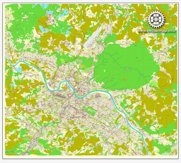 Vector Map Dresden, Germany, printable vector street City Plan map, full editable, Adobe Illustrator, full vector, scalable, editable, text format street names, 16,1 mb ZIP