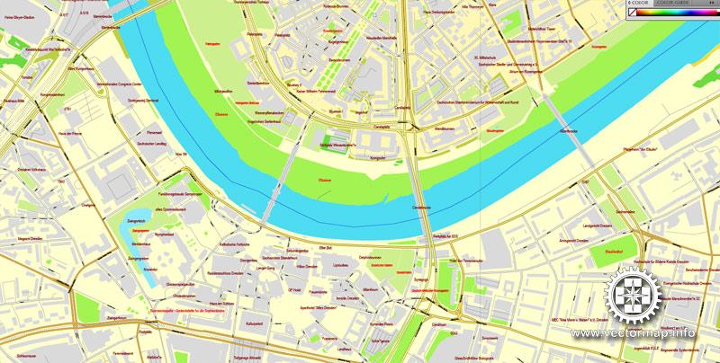 Vector Map Dresden, Germany, printable vector street City Plan map, full editable, Adobe Illustrator, full vector, scalable, editable, text format street names, 16,1 mb ZIP