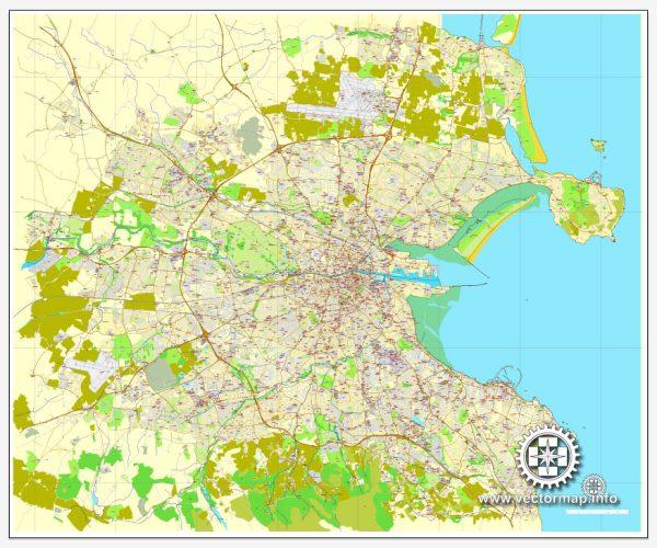 Vector Map Dublin, Ireland, printable vector City Plan map V.2, full editable, Adobe Illustrator, full vector, scalable, editable, text format street names, 17,6 mb ZIP