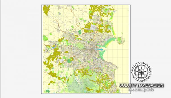 Dublin PDF Map Ireland printable vector City Plan full editable Adobe PDF Street Map