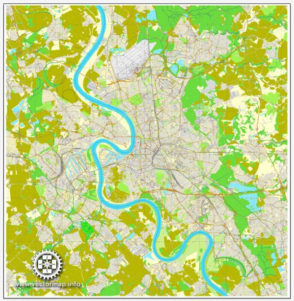 Vector map Duesseldorf, Germany, printable vector street City Plan map, full editable, Adobe Illustrator, full vector, scalable, editable, text format street names, 26,8 mb ZIP