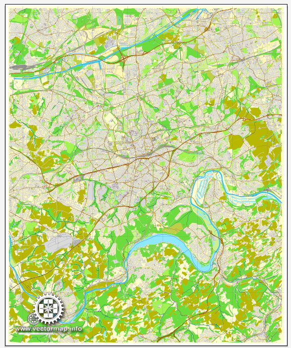 Vector Map Essen, Germany, printable vector street City Plan map V.2, full editable, Adobe Illustrator, full vector, scalable, editable, text format street names, 23,4 mb ZIP