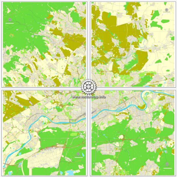 Vector map Frankfurt am Main, Germany, printable vector street City Plan map in 4 parts, full editable, Adobe Illustrator, full vector, scalable, editable, text format street names, 29,4 mb ZIP