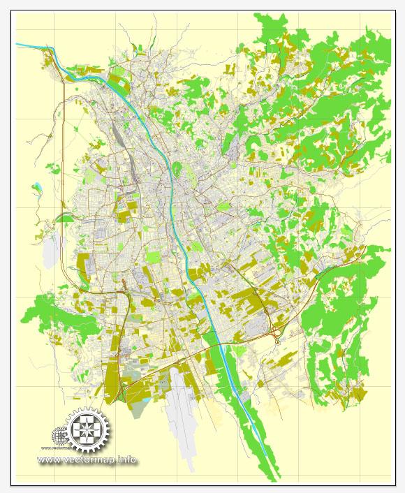 Vector map Graz, Austria, printable vector street City Plan map, full editable, Adobe Illustrator, full vector, scalable, editable, text format street names, 9,0 mb ZIP